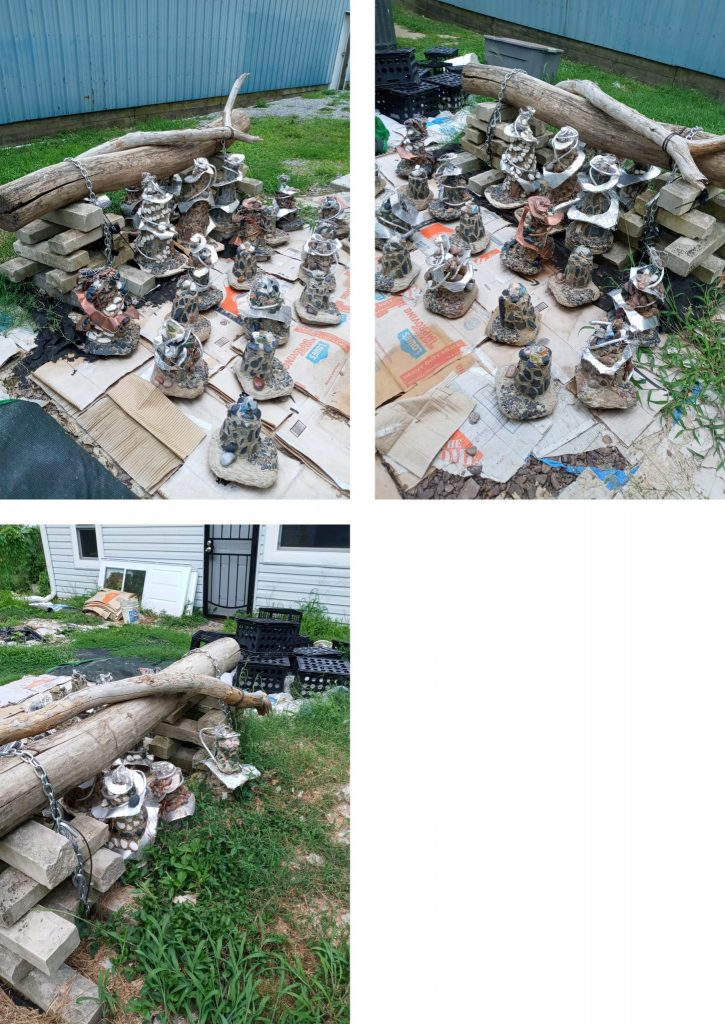 A photo collage showing very stone sculptures next to a large piece of driftwood, placed outdoors in a yard.