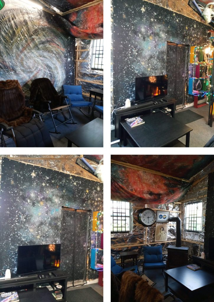 A photo collage showing a room with large painted backdrops of outer space along the walls and ceiling. In the room are chairs, a tv, and a wood burning stove.