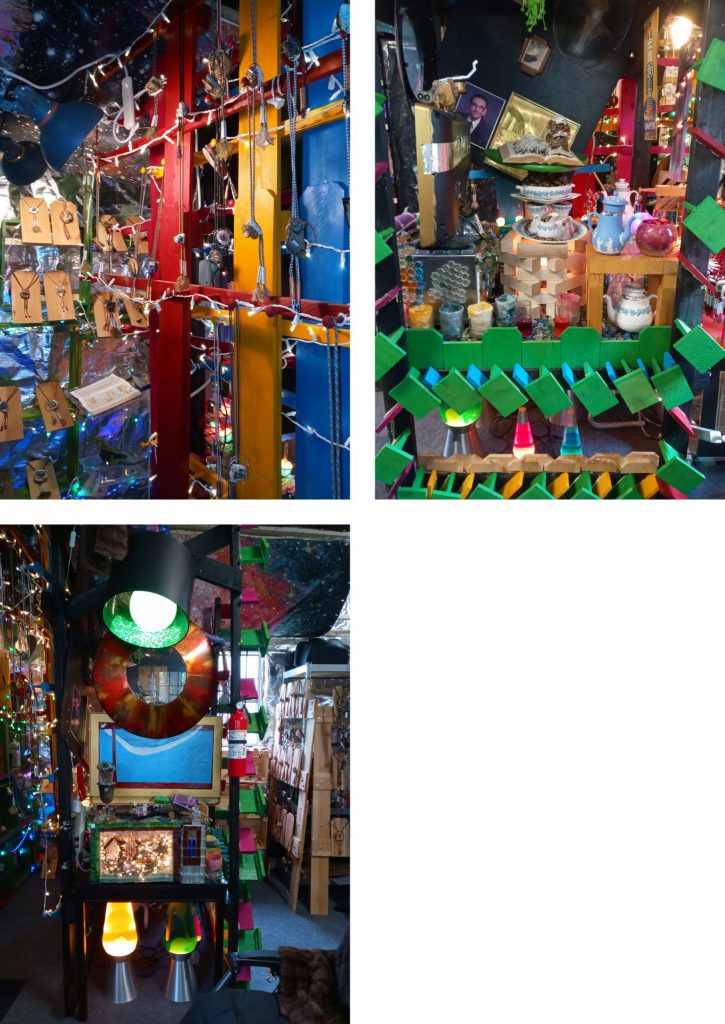 Photo collage of three photos. They depict various angles in a corner showing assemblage art, twinkle lights, lava lamps, a small non-functioning microwave with a light and sculpture inside.