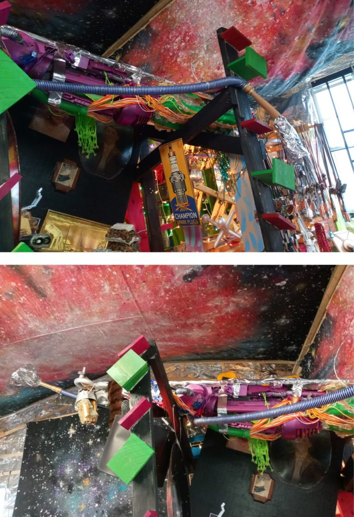 Two photos showing more of the previous corner, more assemblage art, primarily a modified vacuum cleaner pointing up to the ceiling. On the walls and ceiling are more outer space themed painted panels.