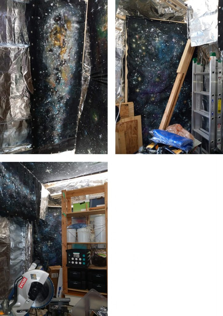More photos of the outer space panels, on walls in a corner of what appears to be a workspace and storage area