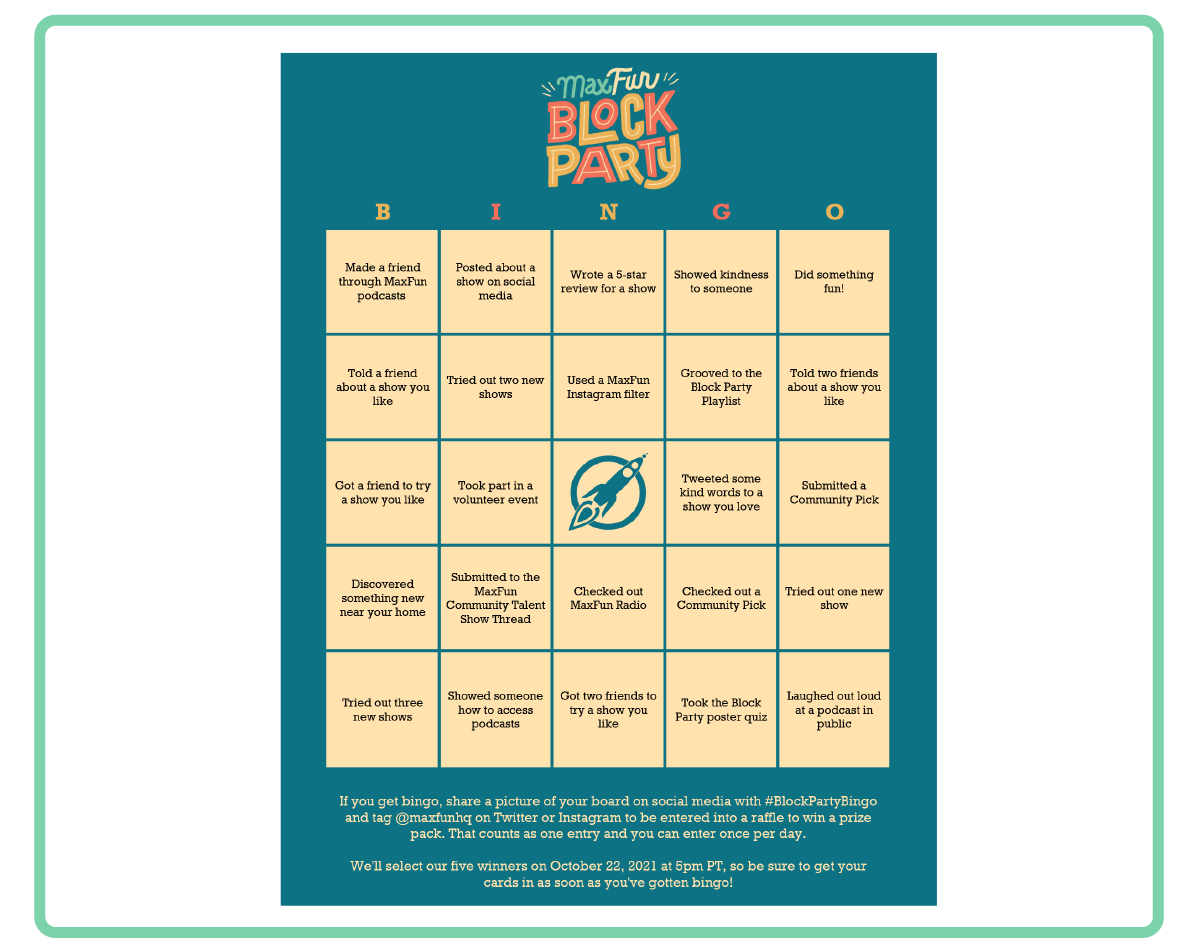 A bingo card with a teal background and light yellow squares filled with text