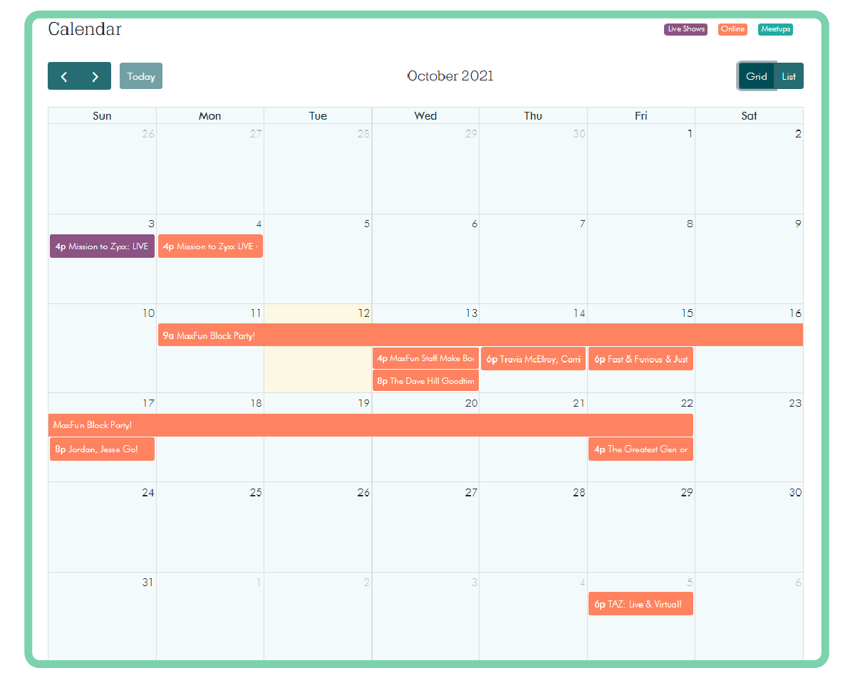 Screenshot of the MaxFun calendar showing the events listed below
