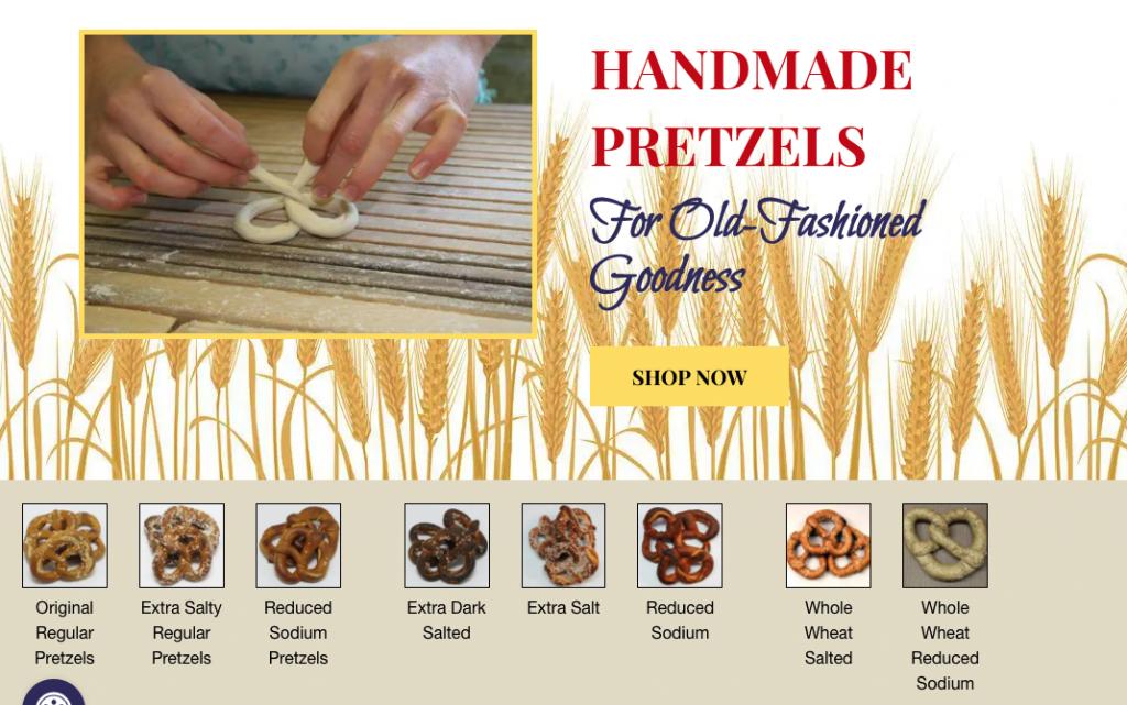 A screenshot of a Handmade Pretzel shop