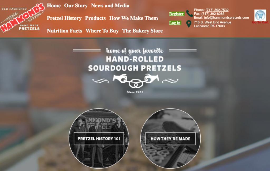 a screenshot of a website for Hammonds Old Fashioned Handmade Pretzels