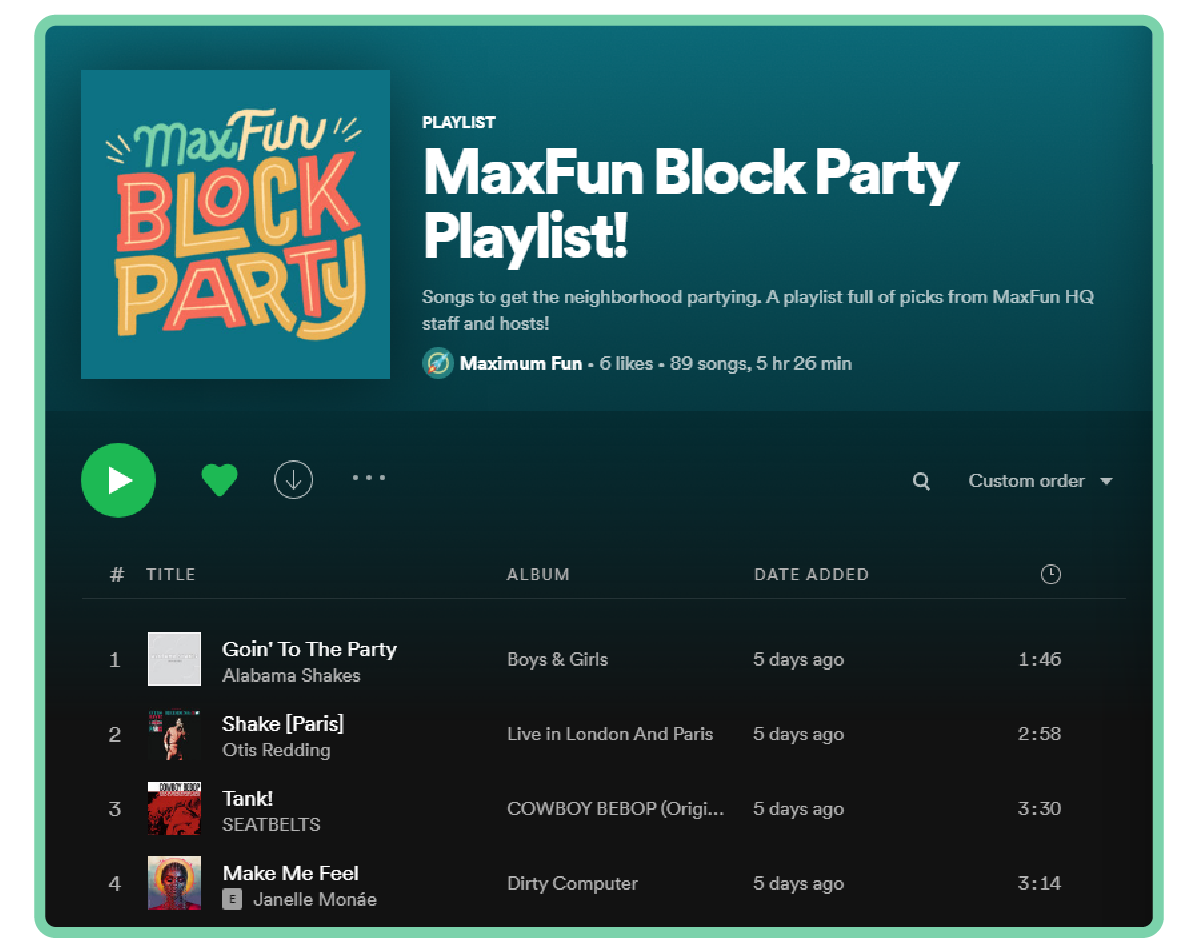 A screenshot of the Block Party Playlist on Spotify
